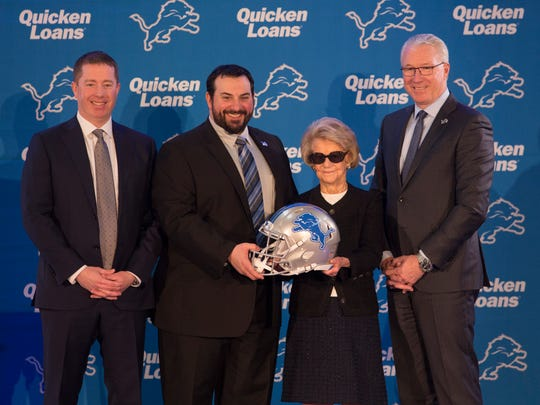 Left to right: Lions GM Bob Quinn, new head coach Matt Patricia, owner Martha Ford and president Rod Wood at a news conference in Allen Park on Wednesday, Feb. 7, 2018.