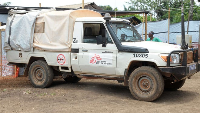 A 'Doctors without Borders' medical aid truck in Guinea on April 1, 2014. The organization reports that 3 of its workers have been killed in Central African Republic.