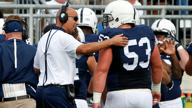"Coach James Franklin praised fifth-year senior Derek Dowrey for helping solidify the offensive line, and handling ""adversity."" ""Goes from a guy that's starting, playing a lot, to a guy that's playing more of a backup role,"" Franklin said. ""Big on special teams, big in the locker room, has been great with me personally and professionally."""