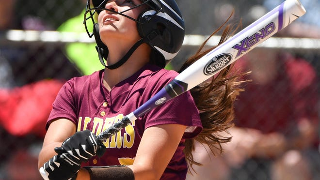 Monique Hoosen of East Peoria watches her pop-up while facing Marengo during the 2017 IHSA Class 3A state softball championship game.