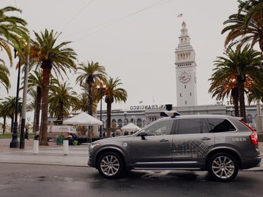 A gray Volvo SUV with visible self-driving sensor hardware and Uber logos parked on a street in San Francisco.