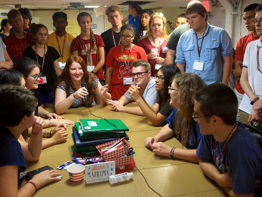Students from around Texas, Oklahoma and Mississippi participate in a fishbowl activity, in which they work as a team, during the Southwest Youth Leadership Conference on Wednesday, June 14, 2017, at the Lexington Museum on the Bay in Corpus Christi.
