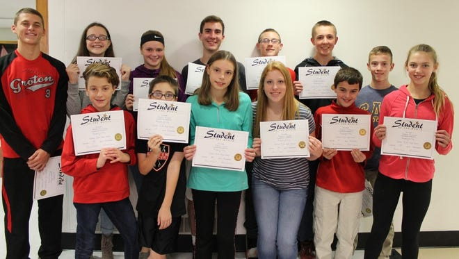 Groton school district students of the month for October: back row from left, Paul Brecht, Maddie Stamm, Macy Corcoran, Greg Pinkowski, Kalib Manning, Robert Brehm and Drew Jackson. Front row, Mattison Lucey, Peyton Brame, Kaija Hoyt, Maddie Coombs, Dylan Sedorus and Emma Kennett. Not pictured: Emily George
