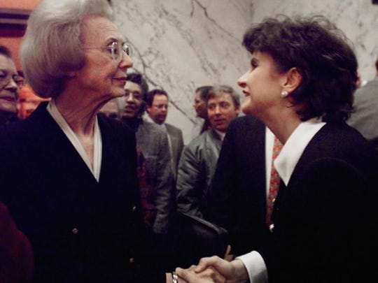 Former Mississippi Lt. Gov. Evelyn Gandy, left, is greeted by new Lt. Gov. Amy Tuck during a reception in Jackson in 2000. Tuck was the second woman after Gandy to hold a major state office in Mississippi during modern times.