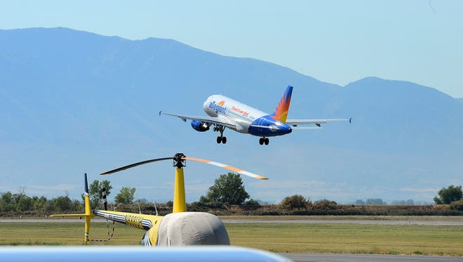 An Allegiant Air flight takes off from the Provo Airport in Utah on Aug. 31, 2016.
