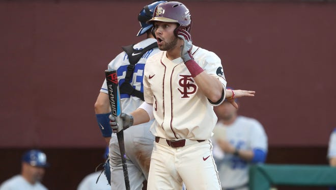 FSU's Nick Derr reacts to being called out on strikes against Duke during their game at Dick Howser Stadium on Friday, April 13, 2018.