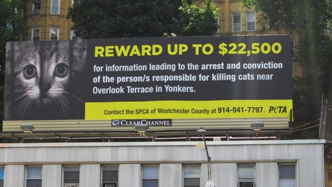 People for the Ethical Treatment of Animals posted this billboard in the Yonkers neighborhood where dozens of bludgeoned cats were found dead in plastic bags in April. It sits atop a building at North Broadway and Manor House Square.