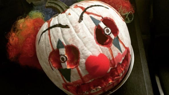 Rumor has it that this clown pumpkin comes to life whenever someone criticizes pumpkin spice lattes.