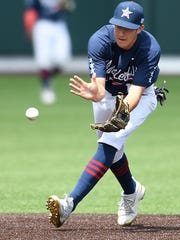 Vanderbilt shortstop Connor Kaiser pulls in a ground ball to turn an out against Alabama on May 20.