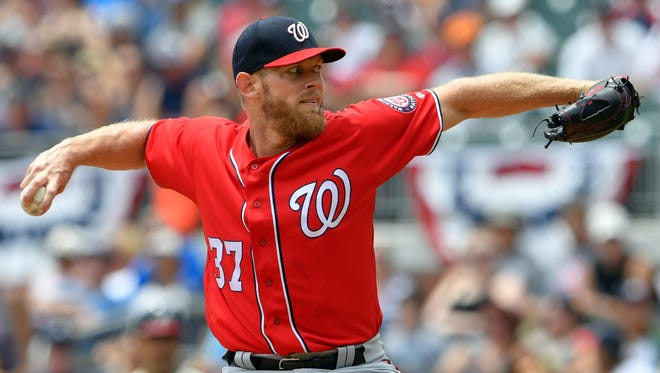 Stephen Strasburg struck out a season-high 11 batters over 7 2/3 innings of work against the Braves.