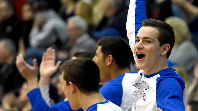 Cedar Crest's Luke Allwein celebrates an Evan Horn three-point shot in the first half of Thursday's L-L title game. The two-time defending champion Falcons surrendered their title in a 54-47 loss to McCaskey.
