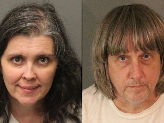 The booking photos from the Riverside County Sheriff's Department of David Allen Turpin, right, 57, and Louise Anna Turpin, 49.