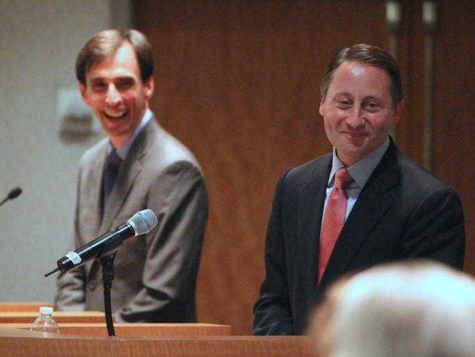Noam Bramson, left, and Westchester County Executive Rob Astorino debate at the Reckson Metro Center in White Plains Oct. 2, 2013. The event was sponsored by the Business Council of Westchester.