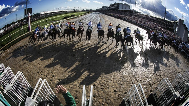 The field for the 143rd running of the Kentucky Derby leave the starting gate at Churchill Downs.May 6, 2017