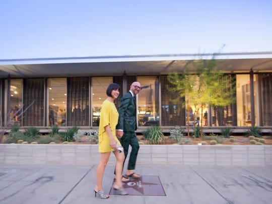 Trina and Jonathan arrive for the opening of the Architecture and Design Center Edwards Harris Pavilion and the unveiling of the Trina Turk Gallery.