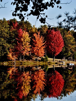 Unseasonably warm weather this fall means the color display at Bass Lake near Traverse City won't be around for long.