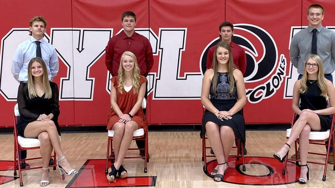 The 2020 Ottawa High School Homecoming King and Queen candidates are, front row from left, Lydia Callahan, Summer Spigle, Caroline Wingert, Kaylee Calcott; back row, Ty Whitney, Trey Bones, Logan Sterling and Ethan Janssen. The coronation ceremony will be at halftime of Friday's football game at Steve Grogan Stadium.