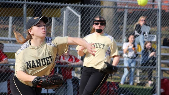 Nanuet first baseman Gena Lanoce throws to first after