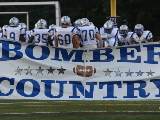 The Sayreville Bombers traveled down Route 9 to take on the Old Bridge Knights at Lombardi Field for a Friday Night varsity football game.   OLD BRIDGE ON FRI SEPT. 7,2012 MARK R. SULLIVAN/STAFF PHOTOGRAPHER