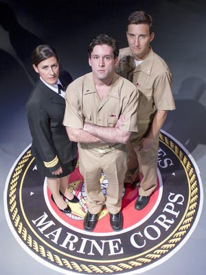 Lt. Cmdr. Joanne Galloway (Ruth Bellavia), Lt. j.g. Daniel Kaffee (EJ Cantu) and Lt. j.g. Sam Weinberg (John Winter) contemplate strategy for the most important case of their careers: defending two Marines accused of murder.