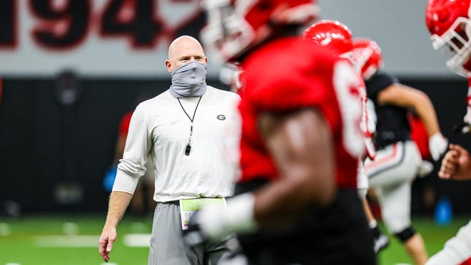 Georgia special teams coordinator Scott Cochran during the Bulldogs' practice session in Athens, Ga., on Wednesday, Sept. 2, 2020.