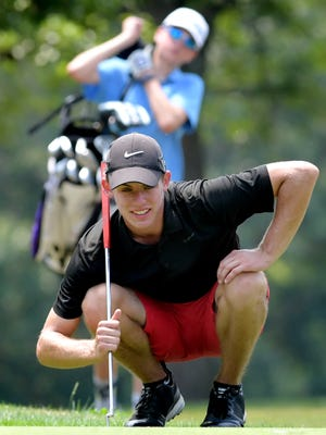 Logan Snyder accesses a putt during a York County Junior Golf Association tournament at Cool Creek Golf Club Monday, July 16, 2018. He was the third-place finisher in the Blue Division. Bill Kalina photo