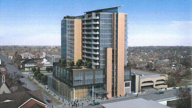 A drawing of the proposed Chauncey building.