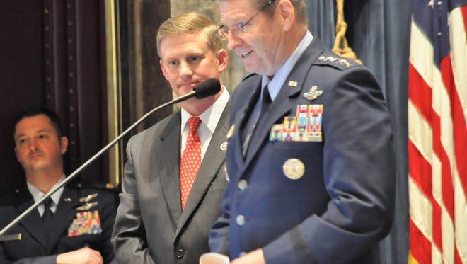 Sen. Barrow Peacock, R-Bossier City, presents Gen. Robin Rand, commander of Barksdale AFB near Shreveport, to the Senate Tuesday.