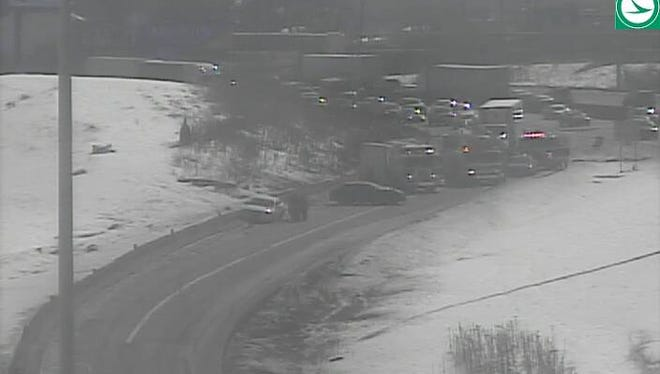 The accident on the off-ramp from northbound I-75 to westbound I-74.