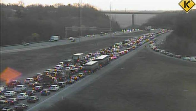 Traffic is significantly delayed on eastbound I-275 at U.S. 27 after a truck crashed and lost a load of shingles on the roadway Tuesday morning.