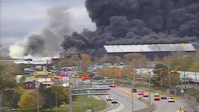 Scene of massive fire at  Bethlehem Steel site.