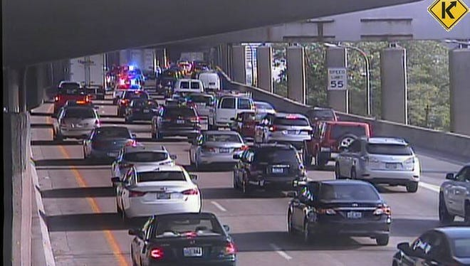A capture of police activity on the Brent Spence Bridge