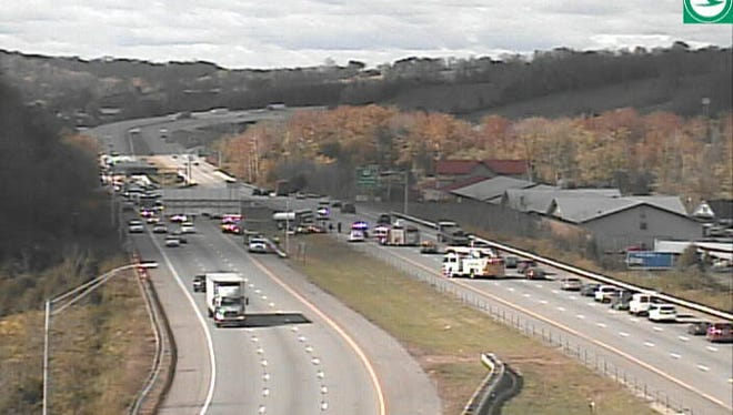 Two people sustained injuries in a crash that shut down two lanes of Interstate 74 East in Colerain Tuesday.