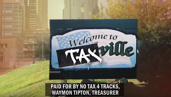 The group NoTax4Tracks will release its first television ad on Monday.