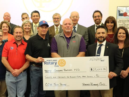 Four donors, including the Portland Rotary Club, presented
