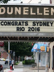 Marquee at Dunellen Theater on Friday July 15, 2016 wishing good luck to borough resident Syndey McLaughlin, a runner who qualified for the Olympics. She is a student at Union Catholic.