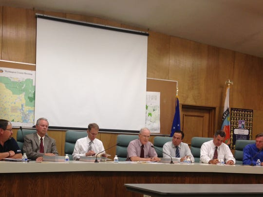 The Washington County Board of Commissioners discuss the BLM management plans Thursday.