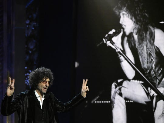 Howard Stern speaks during the Rock and Roll Hall of