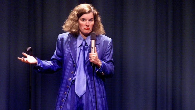 Comedian Paula Poundstone performing in 2001 at the Rio Theatre in Santa Cruz, California.