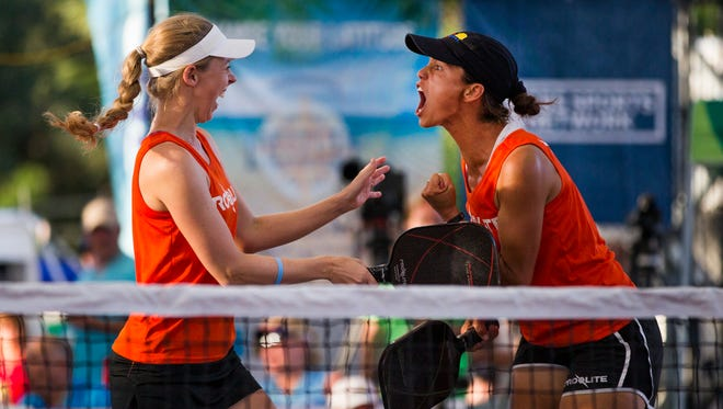 Simone Jardin turns to celebrate with her teammate, Corrine Carr after winning the Women's Doubles Pro Gold match of the U.S. Open Pickleball Championship at the East Naples Community Park in East Naples on Saturday, April 29, 2017. Jardin won in the Women's Pro Singles, Doubles, and Mixed during the tournament.