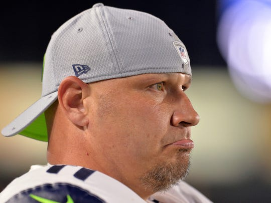 Aug 18, 2018; Carson, CA, USA; Seattle Seahawks kicker Sebastian Janikowski (11) looks on during the second half against the Los Angeles Chargers at StubHub Center. Mandatory Credit: Jake Roth-USA TODAY Sports