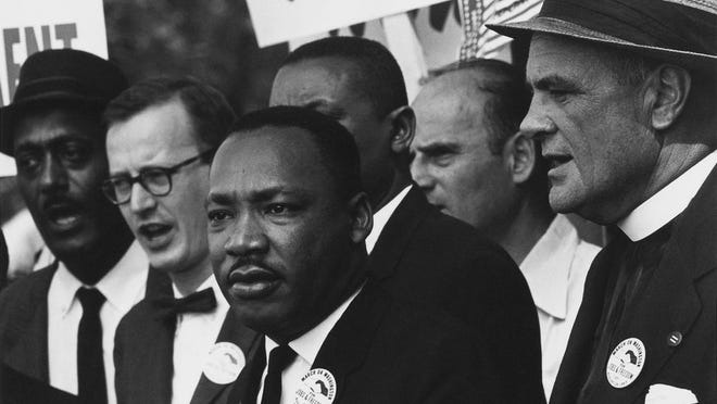 Civil Rights March on Washington, D.C. with Dr. Martin Luther King, Jr. and Mathew Ahmann in a crowd August 28, 1963.