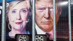 Large images of Democratic nominee Hillary Clinton