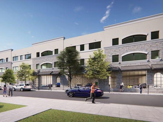 A rendering of the proposed Hudson Street parking garage in Ridgewood.