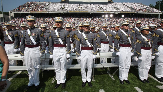 Cadets enter Michie Stadium for the graduation ceremony at the United States Military Academy at West Point in 2012.  High school students face a number of challenges in seeking admission to one of the nation's prestigious service academies — including geography.