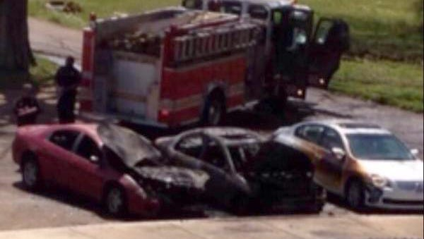 A former Tougaloo College student set a car on fire on the campus Tuesday.