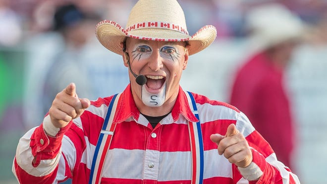 """Besides serving as Redding's rodeo clown, Ash """"CrAsh"""" Cooper designs greeting cards, has a ranch in Canada and hosts a western lifestyle TV show."""