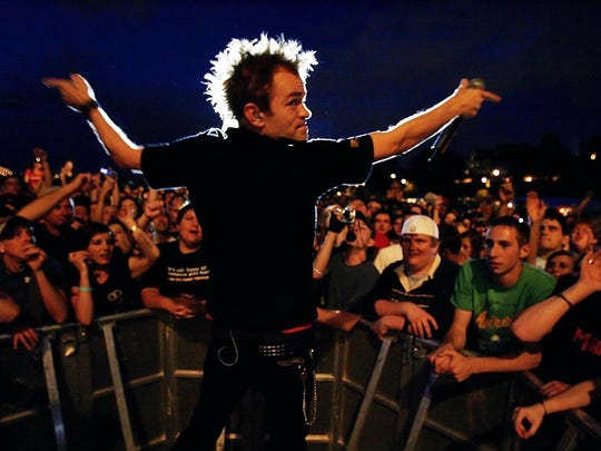 Sum 41 lead singer Deryck Whibley works the crowd at the Cellular South Stage during the Beale Street Music Festival.