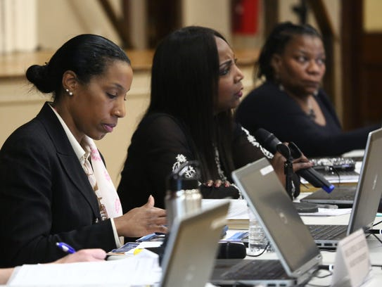 From left, Poughkeepsie district Superintendent Nicole Williams, board President Felicia Watson, trustee Debra Long, during a Poughkeepsie City School District meeting at Morse Elementary School on Feb. 21, 2018.