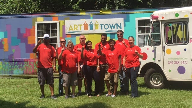 """Volunteers helped Boys Town North Florida check off several needed items from its ART Town playground """"wish list"""""""